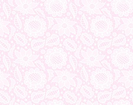 breton: White transparent lace vintage ornament, seamless pattern on pink background