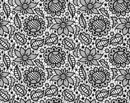breton: Black floral lace vintage ornament seamless pattern