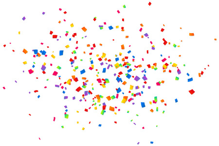 Bright colorful confetti isolated on white background