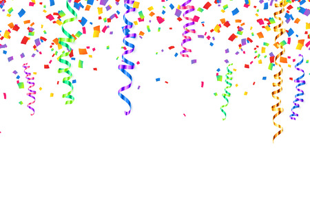 Colorful serpentine and confetti holiday background