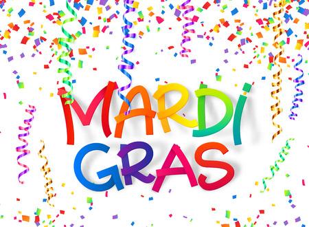 Mardi Gras colorful plastic style sign on confetti and serpentine background