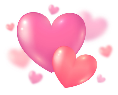 pink background: Valentines Day pink couple hearts on blurred background