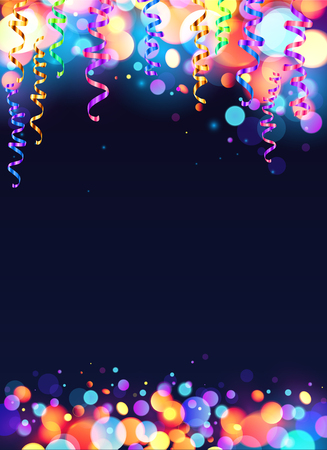 Colorful carnival party poster with shining bokeh effect and serpentine background