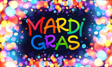 Colorful Mardi Gras sign on dark blue background with shining bokeh lights frame