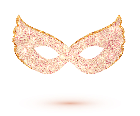 Pink vector carnival mask isolated on white background