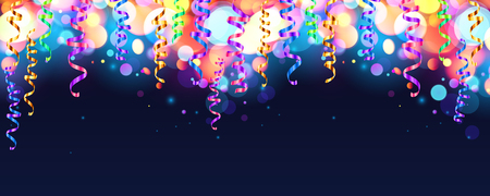party streamers: Dark blue holiday background with colorful shining bokeh and serpentine