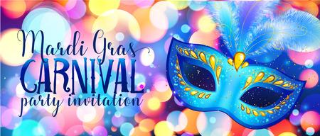 Niebieska maska karnawałowa na świecące światła bokeh, szablon ulotki Mardi Gras