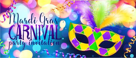 Traditonal colors carnival mask on shining bokeh lights, Mardi Gras invitation banner template 일러스트