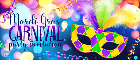 Traditonal colors carnival mask on shining bokeh lights, Mardi Gras invitation banner template Vectores