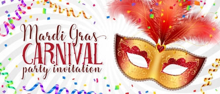 Red and golden carnival mask with feathers on twisted white background, vector Mardi Gras invitation flyer template Illustration