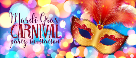 Golden carnival mask with red feathers on colorful bokeh background, vector Mardi Gras banner template