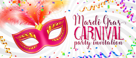 White vector Mardi Gras flyer template with pink carnival mask with feathers