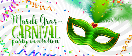 White vector Mardi Gras invitation card template with green carnival mask with feathers Illustration