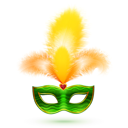 Green vector carnival mask with yellow feathers, Mardi Gras illustration isolated on white background