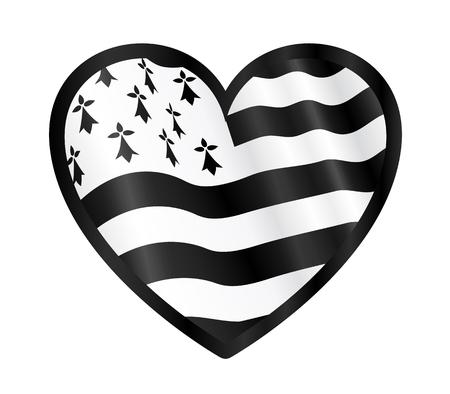 breton: Vector heart shape with black outline and waving Breton flag inside