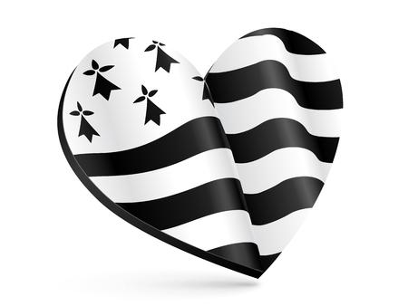 Forma in bianco e nero di cuore 3D con la bandiera della Bretagna all'interno Vettoriali