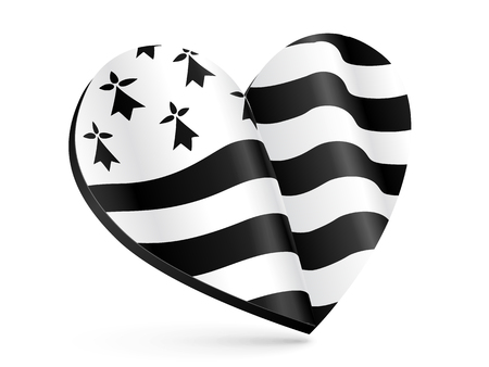 Black and white 3D heart shape with flag of Brittany inside