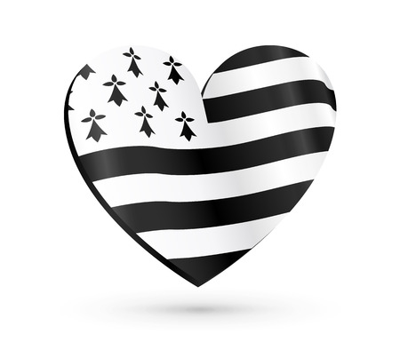 Vector heart shape with flag of Brittany inside isolated on white background