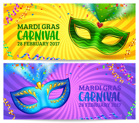 fondos violeta: Green and blue carnival masks Mardi Gras invitation flyers with yellow and violet twisted backgrounds Vectores