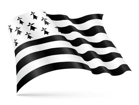 bretagne: Vector Gwen-ha-Du flag of Brittany waving on wind