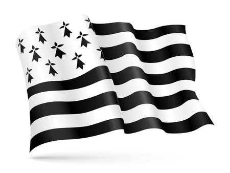 Vector flag of Brittany, France waving on wind 일러스트