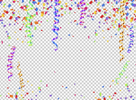 Colorful serpentine and confetti on transparent background, transparency grid imitation Vectores