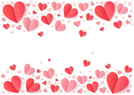 Red and pink paper hearts isolated on white, Valentines Day vector background Vectores