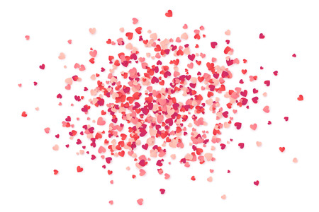 glitter hearts: Red and pink paper heart shape vector confetti isolated on white