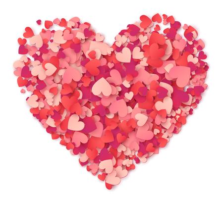 白ハート形ピンクと赤紙吹雪から作られたベクトル大きな心