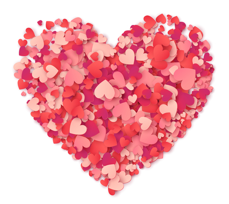 Vector groot hart gemaakt van harten vormt roze en rode confetti op wit