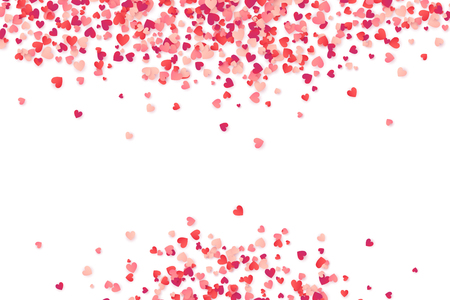 Heart shape vector pink confetti frame Valentines Day background