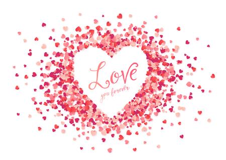 ベクター ピンクの心紙吹雪ハート形フレーム愛を永遠にサインインします。  イラスト・ベクター素材