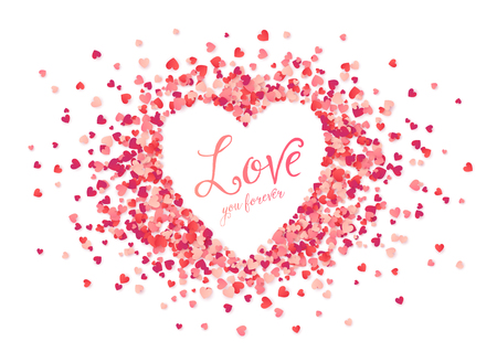 Vector pink hearts confetti heart shape frame with Love you forever sign Illustration