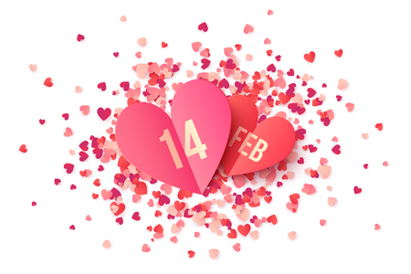14 february: Pink paper heart shape cards with date 14 February on red and pink confetti Illustration