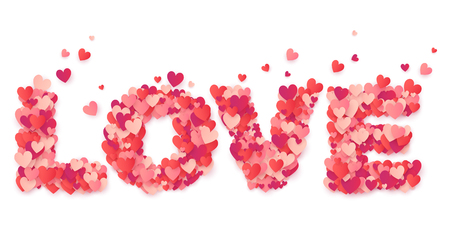 Vector word love made from little red and pink paper hearts confetti