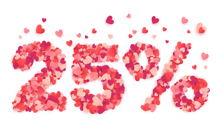 Valentines Day 25% Off discount signage made with hearts.