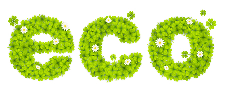 threeleaf: Green eco sign filled with four-leaf clovers and chamomile flowers. Illustration