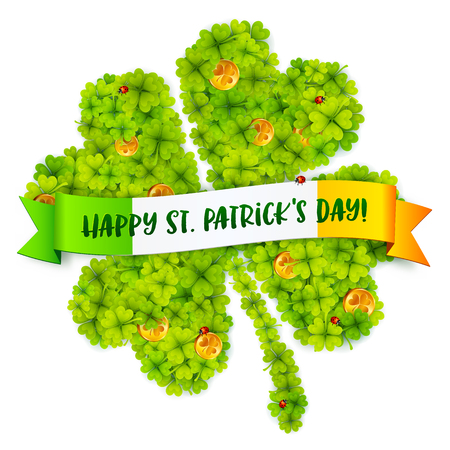 flag banner: Green four-leaf clover with golden coins and Happy St Patrick Day on Irish flag banner.