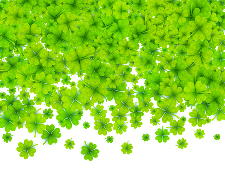 Green four-leaf clovers on white background