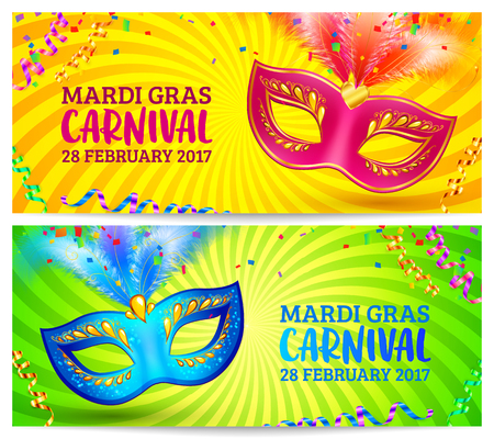 mardi grass: Bright carnival masks on yellow and green Mardi Grass banner templates. Illustration