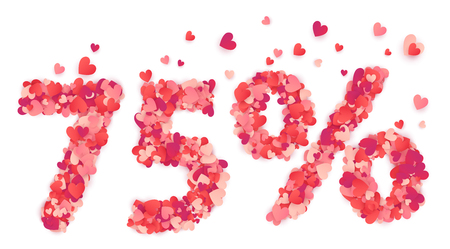 percentage sign: 75 percent number made from pink and red confetti hearts.