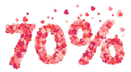 percentage sign: 70 percent number made from pink and red confetti hearts. Illustration