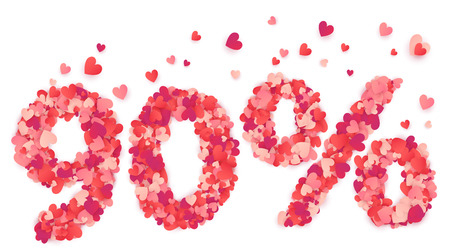 90 percent number made from pink and red confetti hearts.