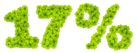 17 Saint Patricks Day discount vector number made from little four-leaf clovers
