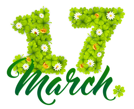 march 17: 17 march vector date number made from green clovers, golden Irish coins and chamomiles