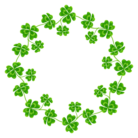 Four-leaf clovers vector round frame isolated on white
