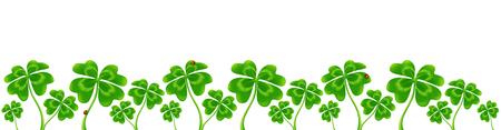 triskel: Line of vector four-leaf clovers, vector Saint Patricks Day border Illustration