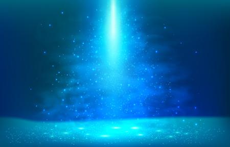 Dark blue underwater magic light vector scene background
