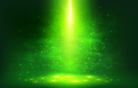Green smoky light with particles abstract vector background