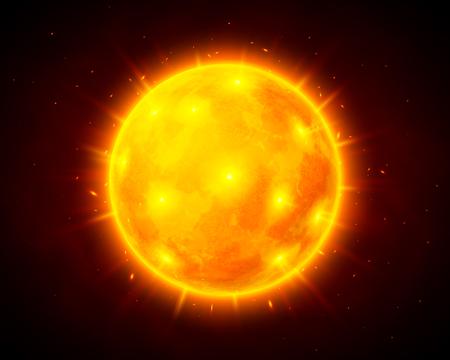 Ilustración del sol del vector en fondo cósmico oscuro